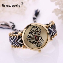 Women's Watches Ladies Rope Quartz Watch Heart Clover Flower Dial Bracelet Watch Dress Wrist Watch Montre Femme