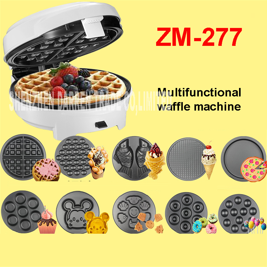7 Pans Kitchen Multifunction Egg Waffle Maker/Donut Machine/Heart Waffle Maker/Cake Pop Machine Non-floating Type ZM-277 220V 12psc lot egg waffle maker household type cake machine kitchen cooking donut maker free shipping by dhl