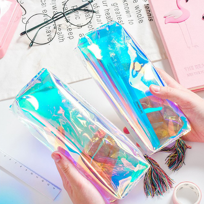 Iridescent Laser Pencil Case Quality PU Transparent  Hologram Holographic Pencilcase Makeup Bag School Supplies Stationery Gift