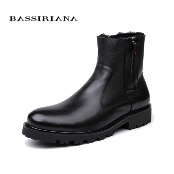 BASSIRIANA - men's winter boots, natural leather sheep wool lining, big Russian sizes 39-45, black and brown free shipping 1