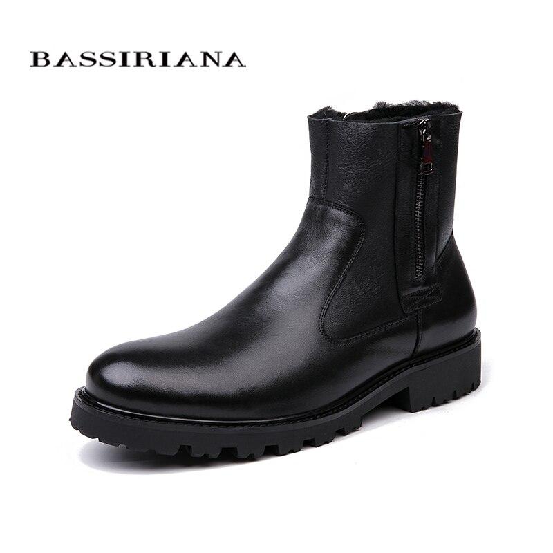 BASSIRIANA الرجال الشتاء الأحذية ، الجلد الطبيعي الأغنام الصوف بطانة ، كبيرة الروسية أحجام 39 45 ، الأسود و البني شحن مجاني-في أحذية برقبة أساسية من أحذية على  مجموعة 2