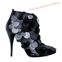 New Arrival Women High Heels Ankle Boots Fashion Solid Bling Sequin Decorated Shoes Women Pointed Toe Spring Autumn Sexy Boots