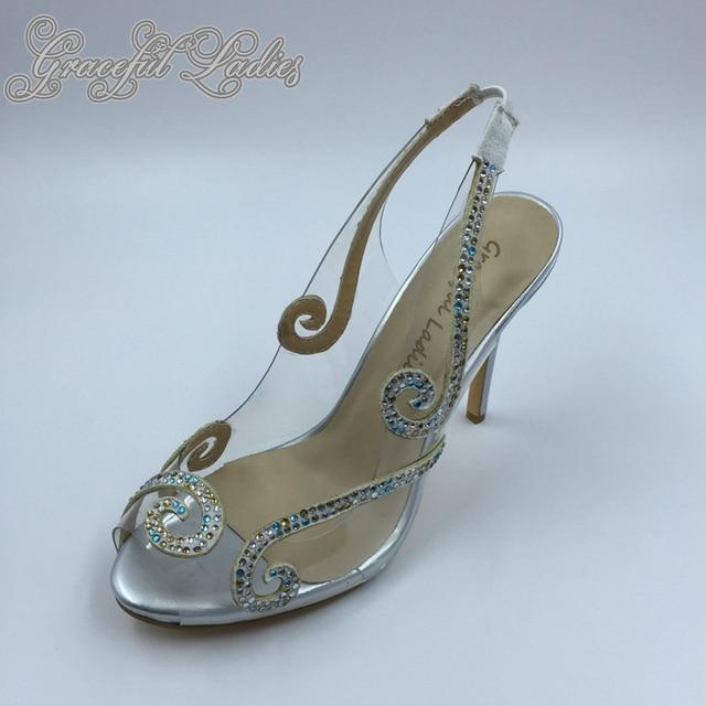 d896731c0ea0 Sexy Clear PVC Plastic Pump Peep Toe Rhinestones Women Sandals Real Picture  Sandals Wedding Women Shoes Summer Sandals