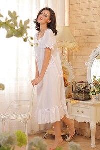 Image 5 - מותג שינה טרקלין נשים הלבשת כותנות לילה כותנה סקסי Robe בית בנות כתנות לילה לבן ארוך בתוספת גודל ארוך שינה
