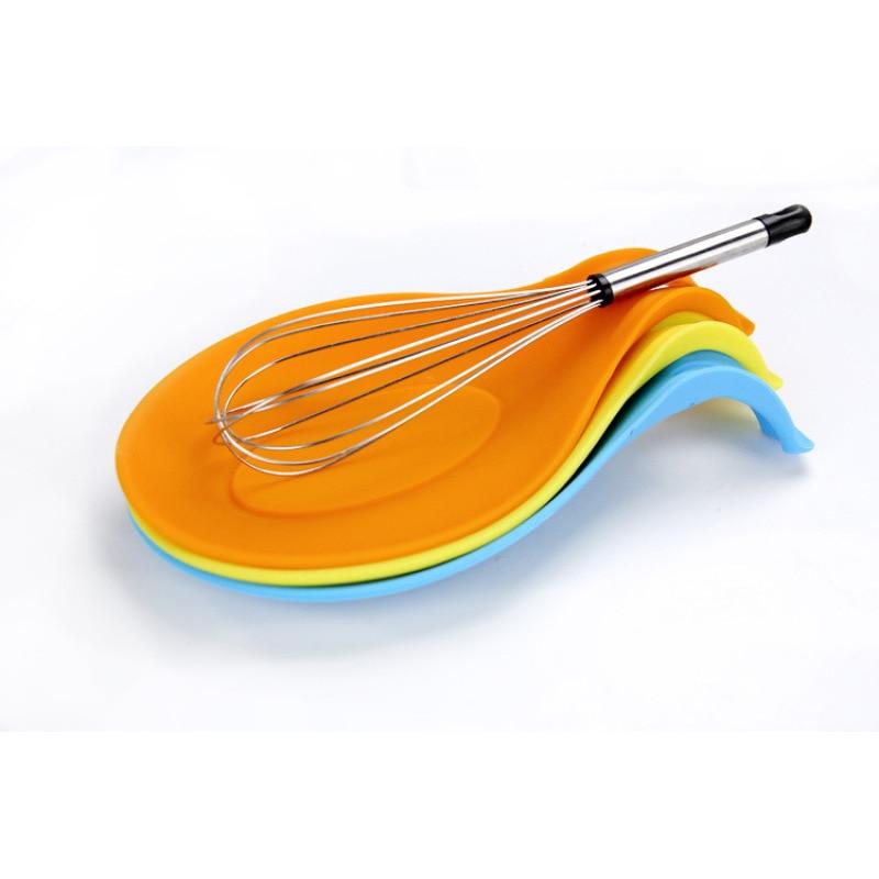 Skedemåtte Sikkerhed Silikone Varmebestandig Isoleringsmåtte Placematbakke Spoon Pad Æggespyd Køkkenlavningsværktøj 19.5 * 9.5CM decor3