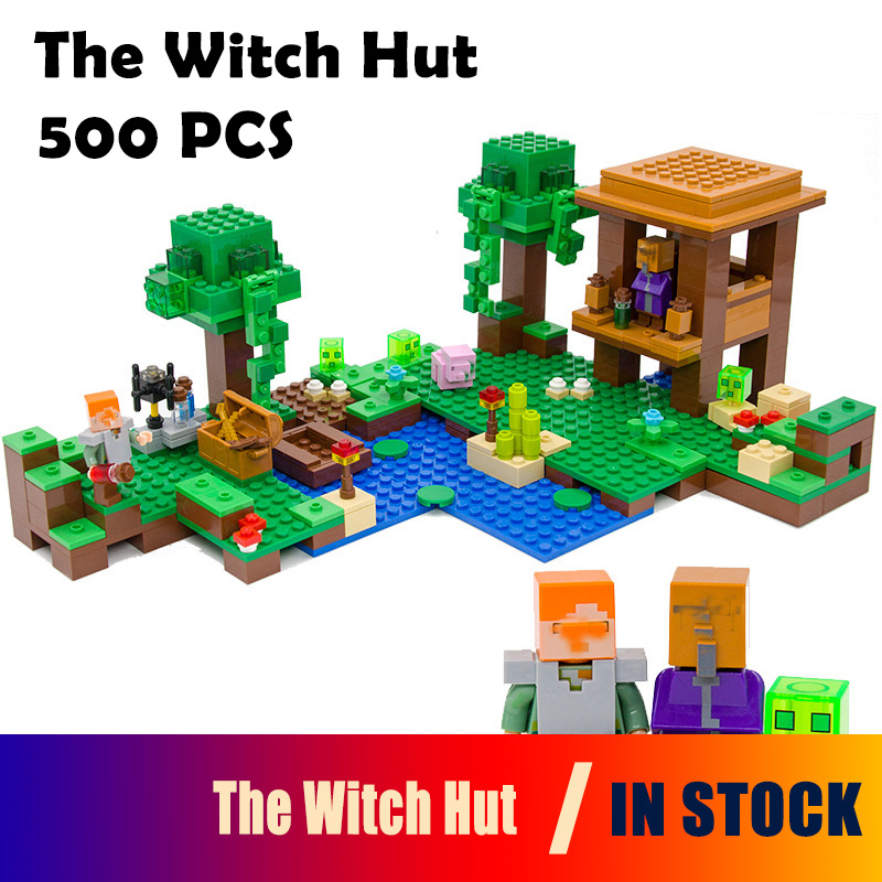 Model building kits my worlds MineCraft The Witch Hut compatible with lego 21133 18027 Educational toys hobbies for children rollercoasters the war of the worlds