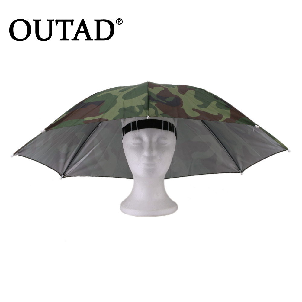 OUTAD Outdoor Sports 69cm Umbrella Hat Cap Folding Women Men Umbrella Fishing Hiking Golf Beach Headwear Hands Umbrella