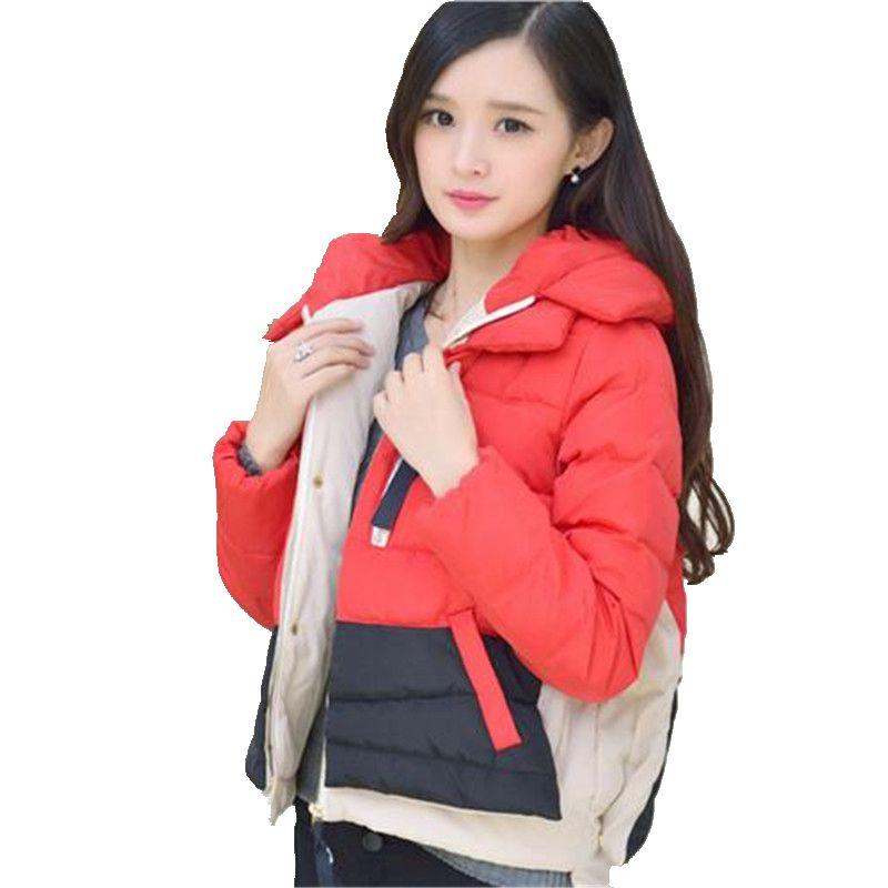 Kış 2016 han baskı Kadın Kısa paragraf Kontrast renk ceket Aşağı ceket Gevşek Eğlence Kapüşonlu sıcak Ceket Tutmak Kalınlaştırmak G1246