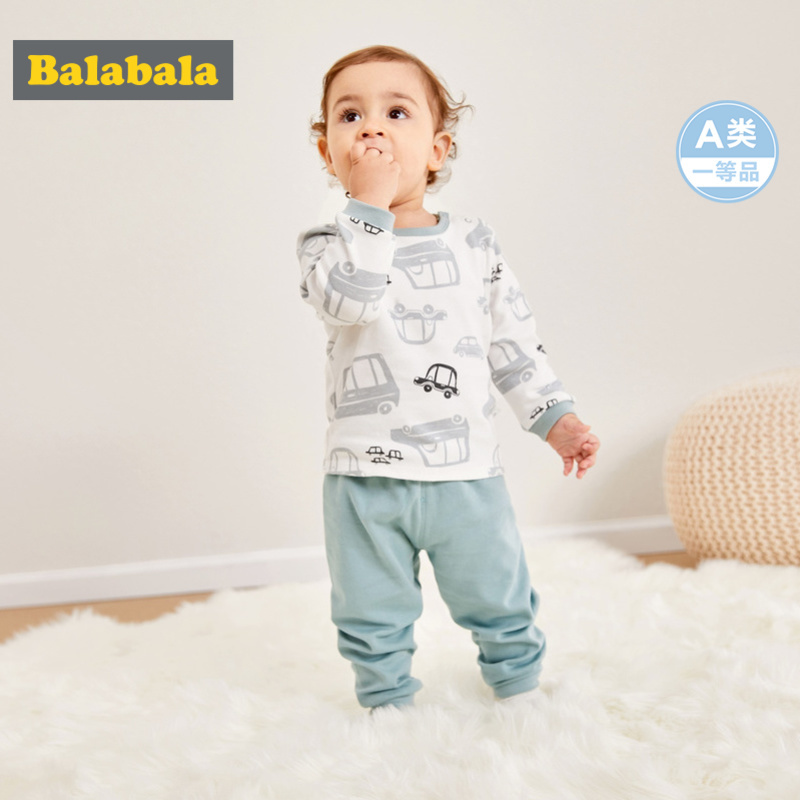 Balabala Infant Baby 2-Piece Print Long-sleeved Shirt Open Shoulder + Pull-on Pants with Elastic Waist Set Baby Boy Girl Clothes