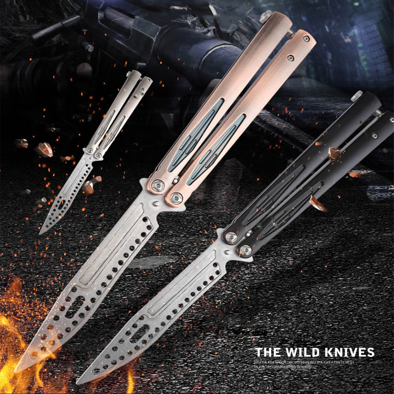 Balisong <font><b>CSGO</b></font> Butterfly In Knife Folding Knife <font><b>Karambit</b></font> CS All-steel Portable No sharp Beginner Scythe Training Practicing Tools image