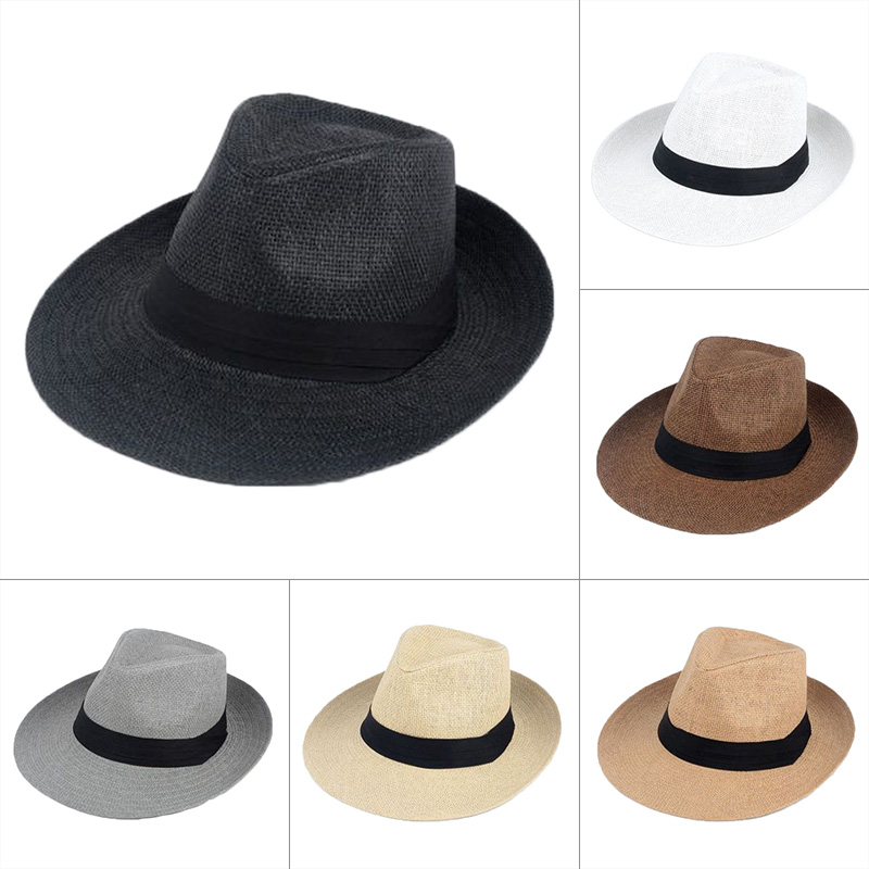 Men Women Strawhat Wide Brim Sun Protective Breathable Sunshade Cap for Outdoor -MX8