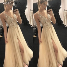 SuperKimJo Vestidos De Festa 2019 Beaded Prom Dresses Long Deep V Neck Crystal Champagne Gown Vestido Formatura
