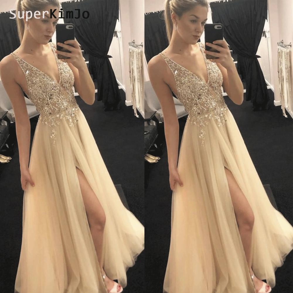 SuperKimJo Vestidos De Festa 2019 Beaded   Prom     Dresses   Long Deep V Neck Crystal Champagne   Prom   Gown Vestido Formatura
