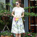 Novelty Twinsets 2017 Summer Lace Short Sleeve White Loose Tops + Flowers Print Skirt High Street Fashion Sets