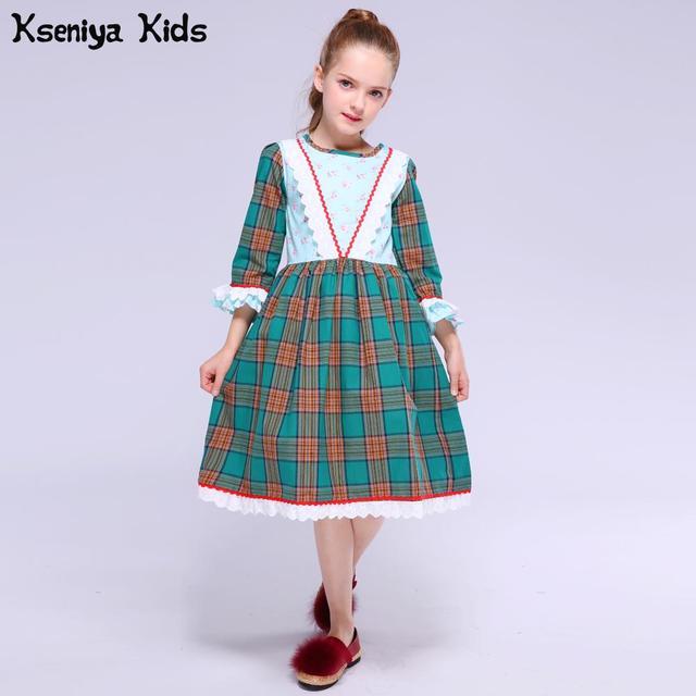 Kseniya Kids Winter Autumn Baby Girls Novelty Green Plaid England Cute Petal Long Sleeve Dress Girl Birthday Flower Dresses 2-11
