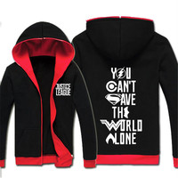 Superhero Justice League Hoodie DC Anime Jacket Winter Fleece Mens Hoody Sweatshirts Black Red Autumn New