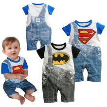 Macacão de bebê Primavera Outono Bebê Meninos de Manga Curta Romper Falso Cinto Jumpsuits Bebe Infantil Superman Batman Macacão de Moda de Algodão