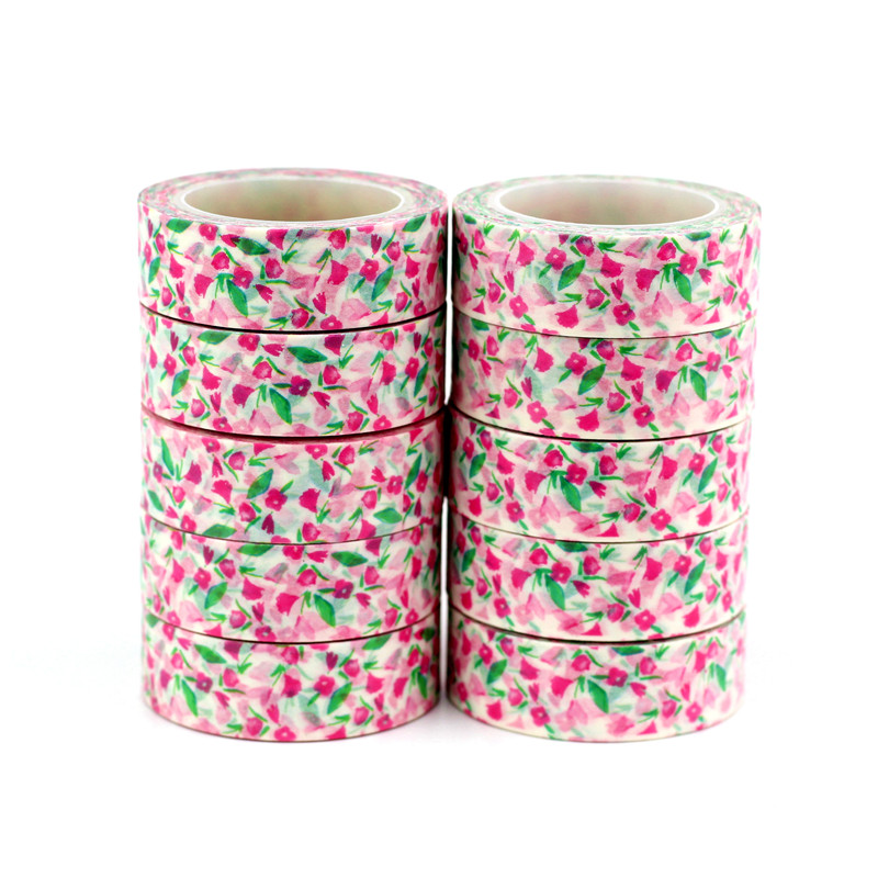 10PCS/lot Decor Bright Beautiful Floral Washi Tapes Paper For Scrapbooking Bullet Journal Adhesive Masking Tapes Stationery