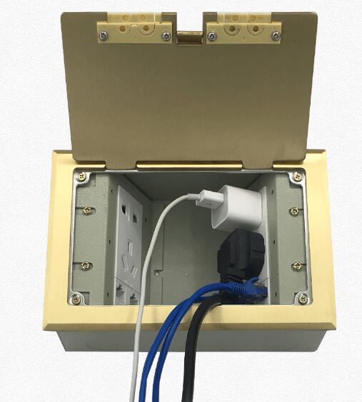 Prise latérale ouverte prise cachée cuivre étanche cinq trous alimentation plus réseau téléphone prise au sol prise de sol