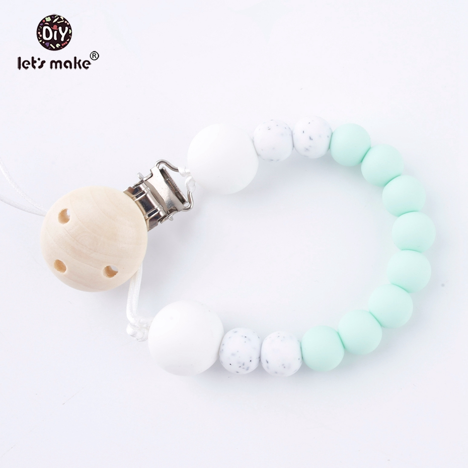 Let's Make Pacifier Chain Hand Made Colourful Beads Dummy Clip Baby Soother Nipple Holder For Baby Kids Shower Gift Dummy Chain