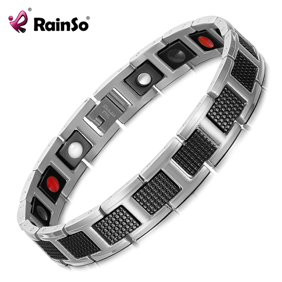 Rainso Bracelet Men Magnetic Jewelry Fashion Stainless Steel Black Bracelets Bangle Wrist Band Sports Style New Design Male Gift