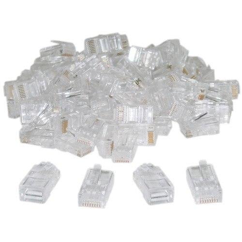 Promotion! RJ45,8P8C,CAT 5 Transparent Crimp Connector Plug , 100 Pieces Per Bag