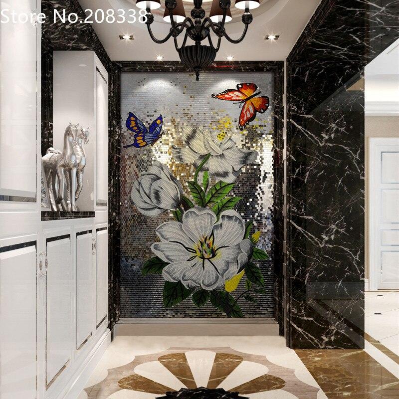 Farfalla danza Piastrella a Mosaico In Vetro Fatto A Mano Wall Art Mural Decor