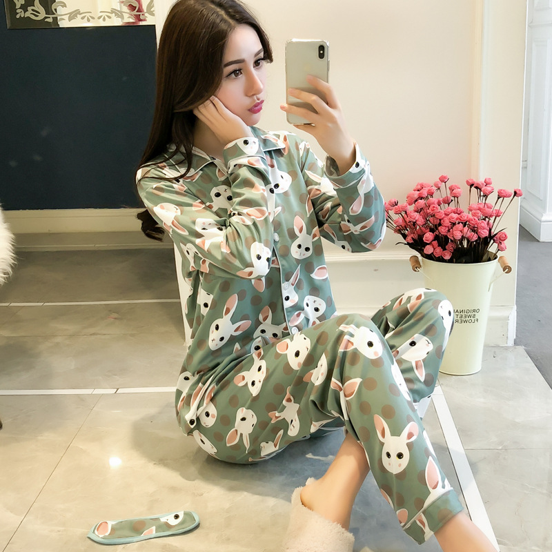 Women   Pajamas     sets   2018 Women Comfortable Cotton   Pajama   Girl Print Pyjama   Set   Long Sleeve Sleepwear Suit Women Nightshirt   Sets