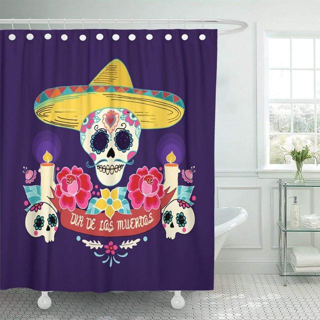 Fabric Shower Curtain Colorful Day Mexican Dia De Los