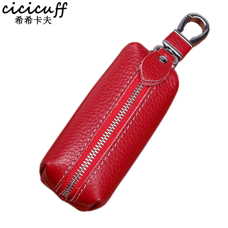 CICICUFF Genuine Leather Car Key Holder Wallet Men Vintage Housekeeper Keys Keychain Cover  Women Zipper Pouch Case Bag