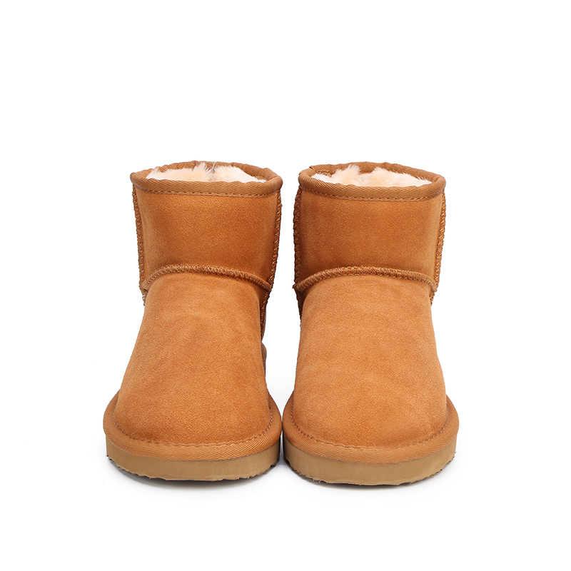 MBR kuvvet avustralya kadın kar botları 100% hakiki inek derisi deri yarım çizmeler sıcak kış çizmeler kadın ayakkabı büyük boy 34- 44
