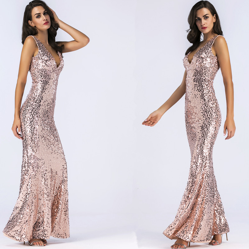 Designer Cocktail Dresses: Elegant Sexy Shiny Women Dress Slim Trumpet Mermaid