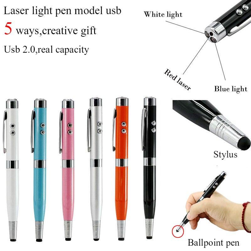 Cores de Luz Laser Pen Shape USB Flash Drive 8 3 GB GB GB 64 32 16GB Usb Disco USB 2.0 Stylus Pen Drive Memory Stick Pendrive U Disk