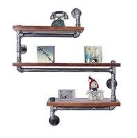 Настенный промышленный деревенский настенная стальная труба полка 3 яруса деревянный полки из досок домашний бар магазин держатели для кух