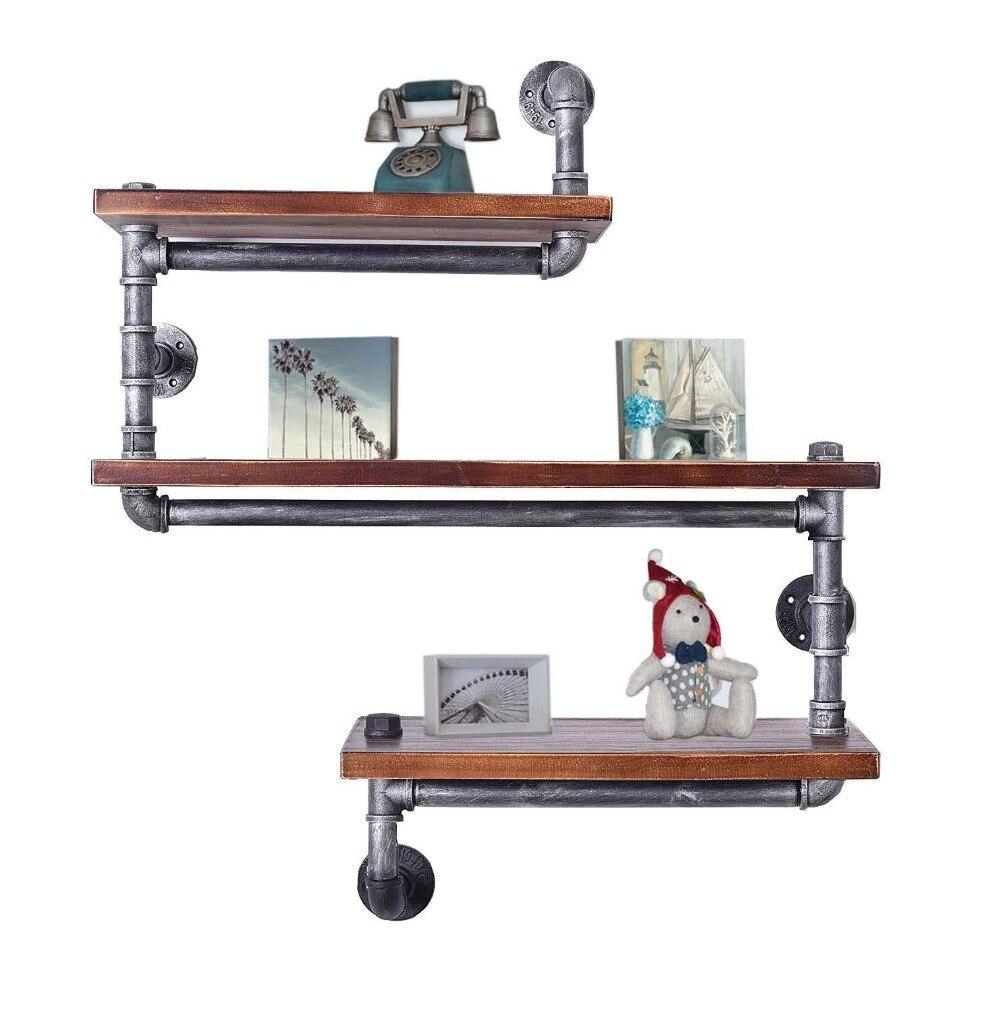 2019 Mode Wandmontage Industriële Rustieke Ijzeren Pijp Wandplank 3 Tiers Houten Board Rekken Thuis Bar Winkel Keuken Opslag Houders Rekken Koop Altijd Goed
