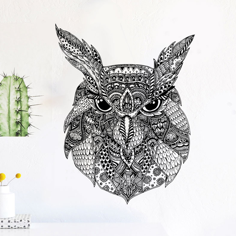 Owl Wall Sticker Home Decoration Art Painting Mandala Style Black And White Pattern Decor Accessories Wallpaper Vinilo