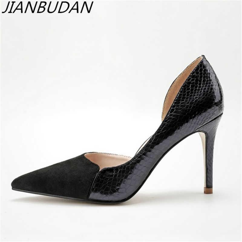 ec11662f6679 JIANBUDAN Professional women s high heel sexy office shoes High quality pu  Snakeskin pattern High heels High