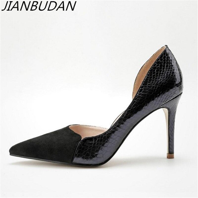 JIANBUDAN Professionnel de femmes à talons hauts sexy bureau chaussures qualité supérieure pu motif Peau de Serpent talons hauts Haute 9.5 cm pompes 34- 39