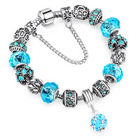 2017 Hot EuropeanAmerican Popular Alloy Large Hole Beads Crystal Rhinestones Chain Beads Side Buckle Snake Bone Bracelet Jewelry