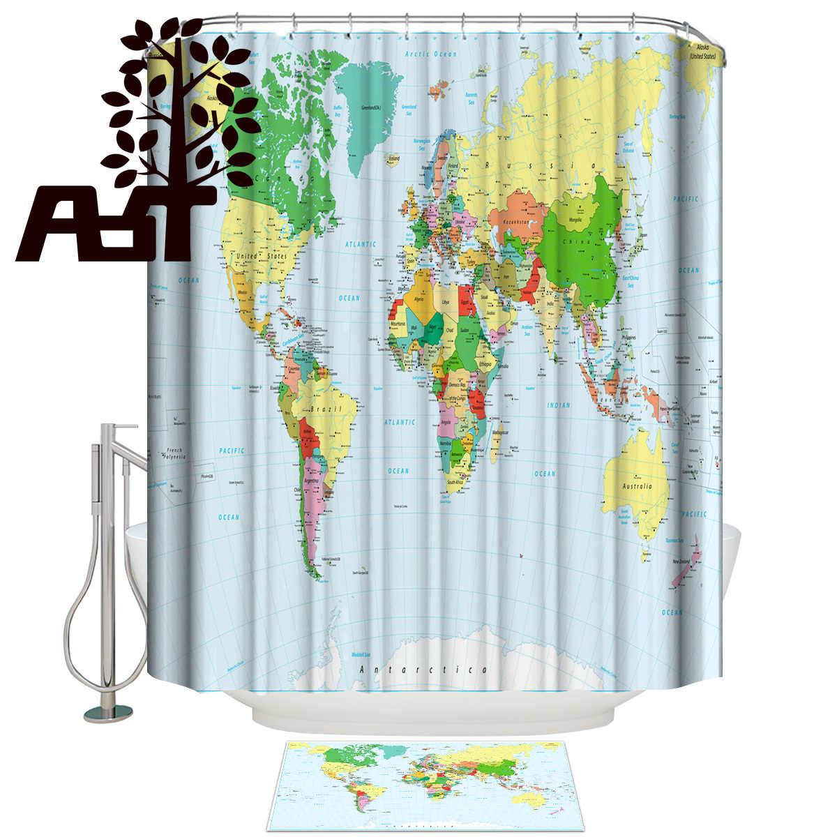 Art Store World Map Shower Curtain Bath Sets With Rugs 2 Piece Bathroom Set Bathroom Decor Set Outside Modern Women Rings Cute Shower Curtains Aliexpress