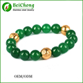 (10pcs) Men Bracelets Gold Plated Charm Bracelet 10MM Onyx Natural Stones For Women Man Fashion Jewelry