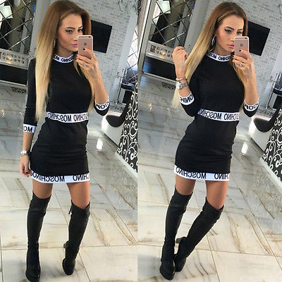 Sexy Autumn Women Vintage Letter Print Patchwork Vestido Long Sleeve Bodycon Bandage Party font b Cocktail