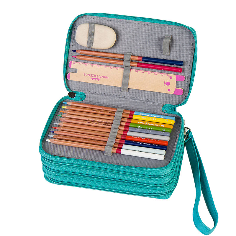 PU Leather School Pencil Case Multifunction Pencil Box 72 Holes 3 Layers Penalty Kid Pencilcase Large Kit Pockets Zipper Pen Bag 2 layer 36 holes art pen pencil case box students stationary zipper storage comestic make up brush organizer bag school supplies