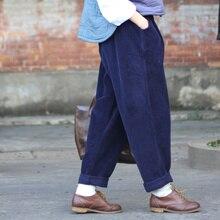 Для женщин ретро зима весна свободные штаны-шаровары вельвет Винтаж Повседневное Большие размеры сплошной цвет утолщаются MID с эластичной талией trousers2016