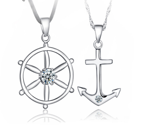 New hot jewelry fashion texture white gold navy style anchor rudder new hot jewelry fashion texture white gold navy style anchor rudder exaggerated personality lovers pendant necklace aloadofball Gallery