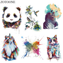 ZOTOONE Watercolor Animal Patch Iron On Transfers For Clothes Diy T-shirt Thermal Cat Butterfly Bird Patches Clothing Applique E