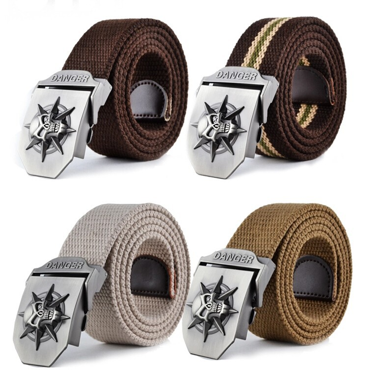 Fashion men's Canvas belt skull Metal tactics woven belt canvas belt Casual pants Cool wild gift for men belts Skull large size 18