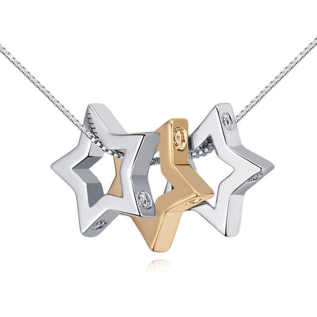 Three Star Chain Necklace Pendant Teacher Birthday Gifts Best Friend Lucky Jewelry Cheap Accessories Jewellery