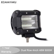 ECAHAYAKU 1x 4 Inch LED Work Light Bars 48W Combo Beam for Off-road Motorcycle Boat Car Truck Tractor 4x4 ATV SUV 12V 24V 6000K