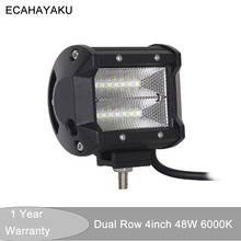 ECAHAYAKU 4 inch 48w LED Work Light Bar spot flood Beam offroad led bar for Off-road 4wd Boat Car Truck Tractor 4x4 ATV SUV 12V weketory 4 36 inch led bar led light bar for car tractor boat offroad off road 4wd 4x4 truck suv atv driving 12v 24v